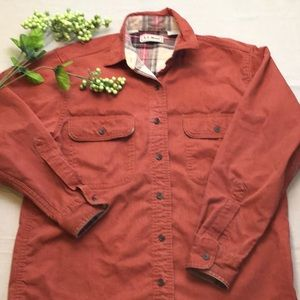 LL Bean Flannel Lined Canvas Shirt Small Canada
